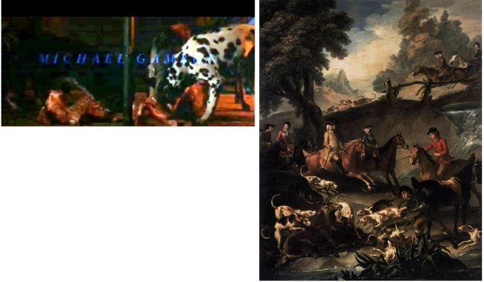 Velvo úvodní scéna z filmu, vpravo: Pieter Jan van REIJSSCHOOT, Zabíjení, 1743