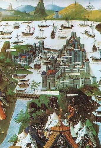 Traversee do Bosphore. Tak viděl sultán přístavy Zlatého rohu a asijský břeh z balkónu východního paláce v roce 1453 Zdroj: web
