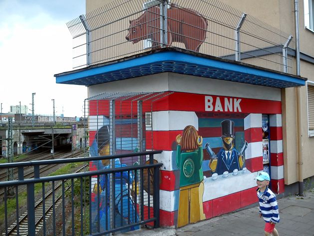 bank robbery dusseldorf street art house lego